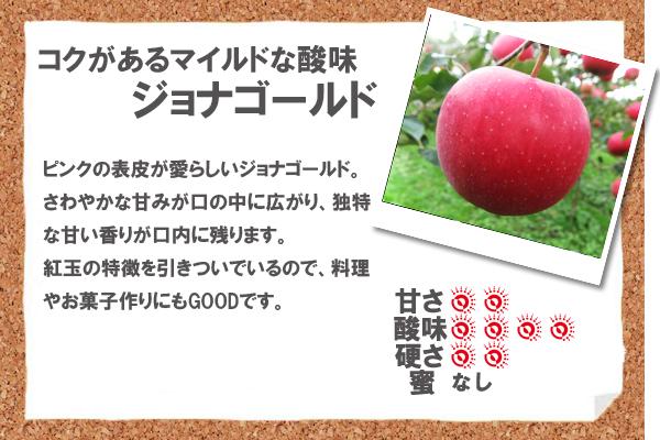 コクがあるマイルドな酸味ジョナゴールド ピンクの表皮が愛らしいジョナゴールド。さわやかな甘みが口の中に広がり、独特な甘い香りが口内に残ります。紅玉の特徴を引きついでいるので、料理やお菓子作りにもGOODです。