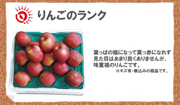 りんごのランク 葉っぱの陰になって真っ赤になれず見た目はあまり良くありませんが、味重視のりんごです。※キズ有・無込みの商品です。